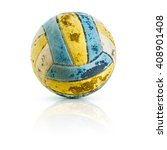 isolated old volleyball on... | Shutterstock . vector #408901408