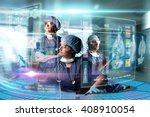 doctors in a research station... | Shutterstock . vector #408910054