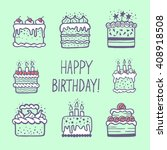 cute happy birthday card or... | Shutterstock .eps vector #408918508