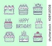 cute happy birthday card or... | Shutterstock .eps vector #408918508