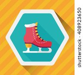 ice skate flat icon with long... | Shutterstock .eps vector #408923650