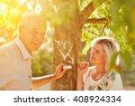 senior citizens in love draw a... | Shutterstock . vector #408924334