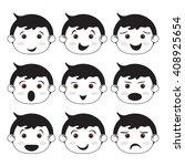 set of kids faces. boys. | Shutterstock .eps vector #408925654