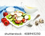 spring salad with eggs ... | Shutterstock . vector #408945250