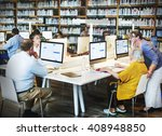 library academic computer... | Shutterstock . vector #408948850