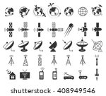 set of satellite  communication ... | Shutterstock .eps vector #408949546