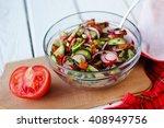 fresh salad with cucumbers ...