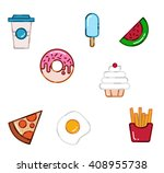 flat vector set of food icons | Shutterstock .eps vector #408955738