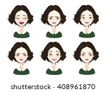 isolated set of female avatar... | Shutterstock .eps vector #408961870