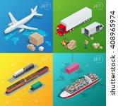 global logistics network flat... | Shutterstock . vector #408965974