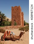 Small photo of kasbah Ait ben Haddou, Morocco, Africa with camels