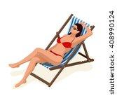 beautiful woman in red bikini... | Shutterstock .eps vector #408990124