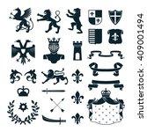 heraldic royal symbols  emblems ... | Shutterstock .eps vector #409001494