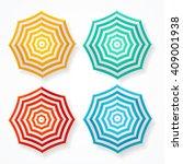 striped sun umbrella set on... | Shutterstock .eps vector #409001938