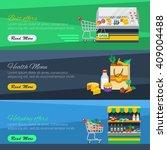 flat horizontal supermarket... | Shutterstock .eps vector #409004488
