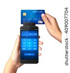 mobile payment concept  hand... | Shutterstock . vector #409007704