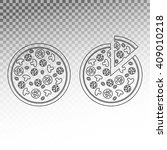 pizza with different toppings... | Shutterstock .eps vector #409010218