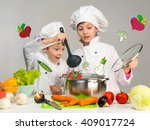 cooking little boy and girl... | Shutterstock . vector #409017724
