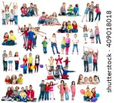 different aged funny children... | Shutterstock . vector #409018018