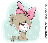 cute cartoon puppy with pink... | Shutterstock .eps vector #409046770
