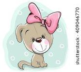 cute cartoon puppy with pink... | Shutterstock .eps vector #409046770