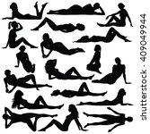 set of many black vector... | Shutterstock .eps vector #409049944