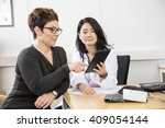 patient pointing at digital... | Shutterstock . vector #409054144