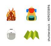 hike vector set isolated. fire  ... | Shutterstock .eps vector #409055896