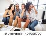 friends making funny faces... | Shutterstock . vector #409065700
