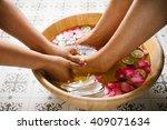 closeup shot of a woman feet... | Shutterstock . vector #409071634
