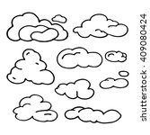 hand drawn cloud set.... | Shutterstock .eps vector #409080424