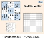 symmetrical sudoku with answers.... | Shutterstock .eps vector #409086538