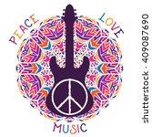 hippie peace symbol. peace ... | Shutterstock .eps vector #409087690