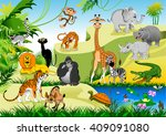 large group of animals in the... | Shutterstock .eps vector #409091080