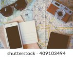 travel planning with map ... | Shutterstock . vector #409103494