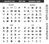 security car set 100 black... | Shutterstock . vector #409110238
