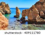 the coast of the algarve in... | Shutterstock . vector #409111780