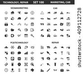 seo  marketing set 100 black... | Shutterstock . vector #409112728