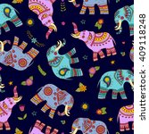 seamless pattern with doodle... | Shutterstock .eps vector #409118248
