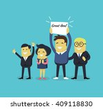 people with a banner great idea.... | Shutterstock .eps vector #409118830