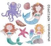 mermaids under the sea set... | Shutterstock . vector #409119910