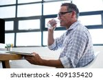man having glass of water and... | Shutterstock . vector #409135420