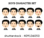 attractive black haired boy on... | Shutterstock .eps vector #409136053