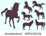 unicorns silhouette set  magic... | Shutterstock .eps vector #409140136