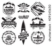 set of canoe and kayak labels.... | Shutterstock .eps vector #409145650