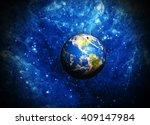 planet earth deep in space...   Shutterstock . vector #409147984