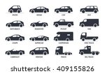 Stock vector car type and model objects icons set vector black illustration isolated on white background with 409155826
