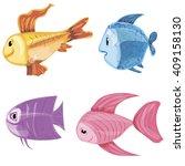 funny fish. vector set. | Shutterstock .eps vector #409158130
