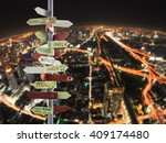 travel traffic sign and night... | Shutterstock . vector #409174480