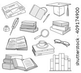 reading  hand drawn objects set.... | Shutterstock .eps vector #409174900